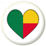 Benin Country Flag Heart 25mm Pin Button Badge